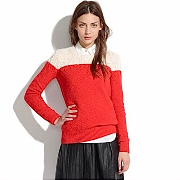 Madewell Colorblock Cable Knit Sweater Jumper S